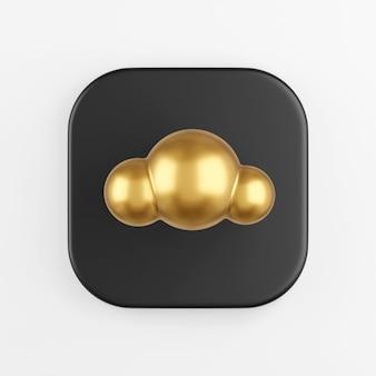Estilo de desenho animado do ícone de nuvem de ouro. renderização 3d do botão de chave quadrado preto, elemento interface ui ux.