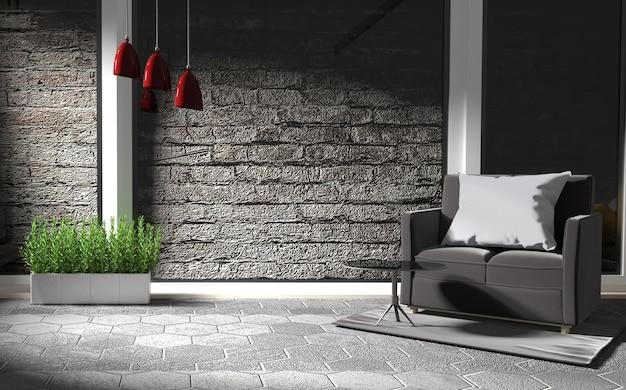 Estilo de loft de sala de estar com sofá vermelho e lâmpada. renderização 3d