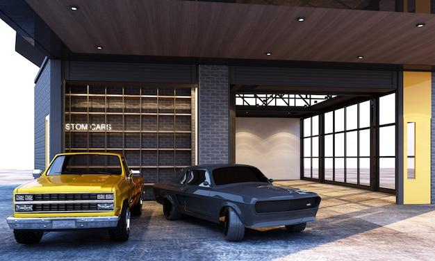 Estilo de loft industrial de garagem exterior e interior com renderização 3d de carros