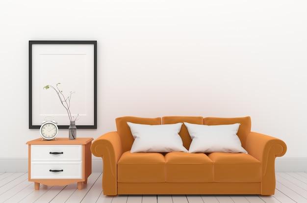 Estilo de mobiliário de quadro e laranja. renderização 3d