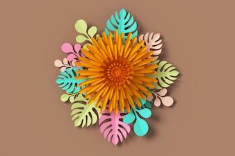 Estilo de papel da flor, ofício de papel floral, rendição 3d, com trajeto de grampeamento.