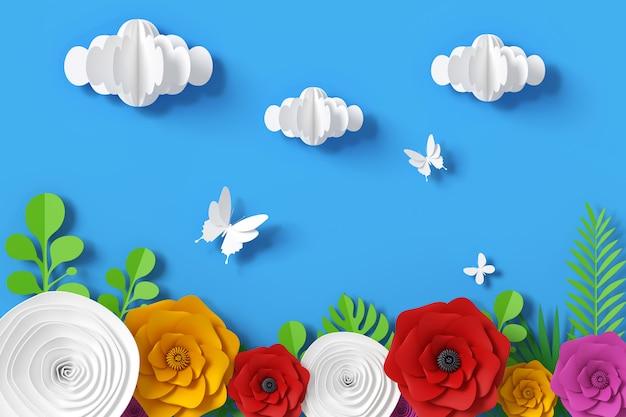 Estilo de papel de flor e céu, renderização em 3d