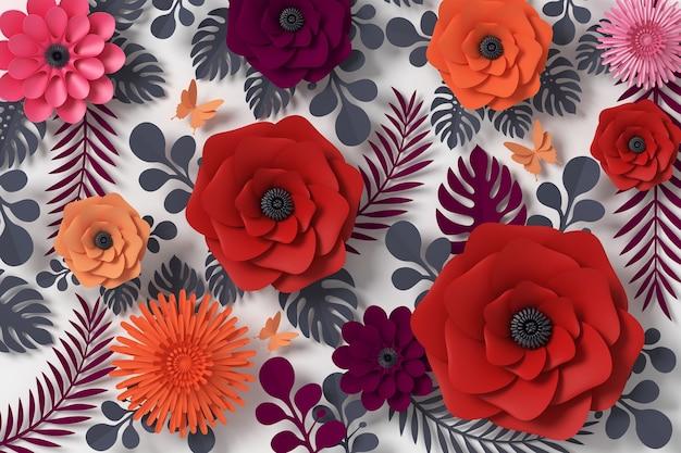 Estilo de papel de flor, papel artesanal floral, borboleta papel voar