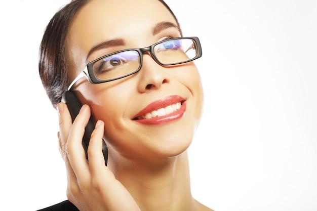 Estilo de vida, negócios e pessoas conceito: mulher de negócios sorridente