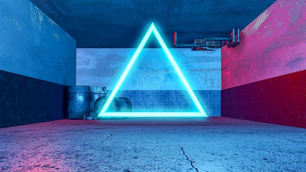 Estilo do grunge da sala 3d subterrânea e triângulo neon, com luz de fundo vermelha e azul.