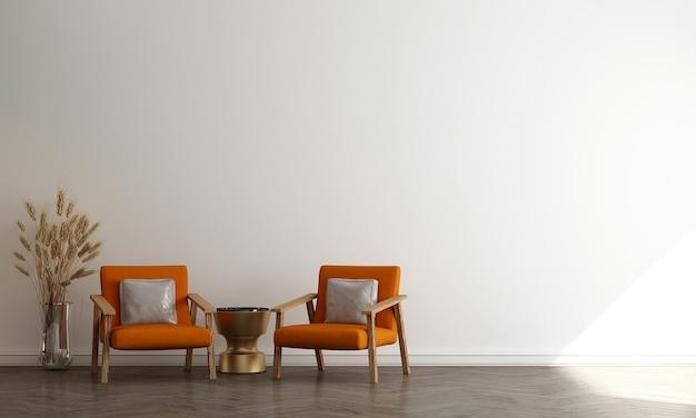 Estilo escandinavo e sala minimalista com sofá e mesa de chá. design minimalista da sala de estar e fundo de parede branco vazio, ilustração 3d