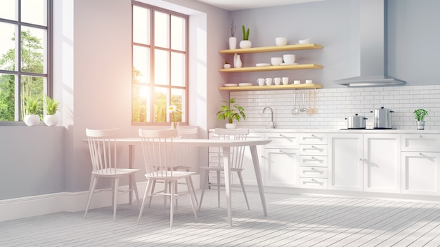 Estilo escandinavo moderno, interior da sala branca de cozinha .3drender