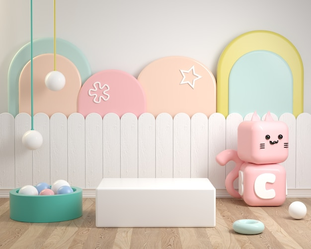 Estilo infantil maquete pódio com conceito de cor pastel no piso de madeira renderização em 3d