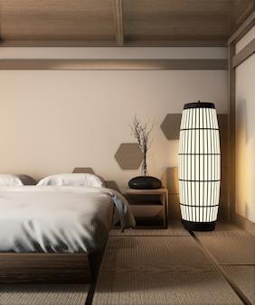 Estilo japonês de cama de madeira e lâmpada zen na esteira de tatami projetar parede de azulejos de madeira do hexágono, renderização em 3d
