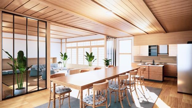 Estilo japonês de cozinha quarto. renderização em 3d