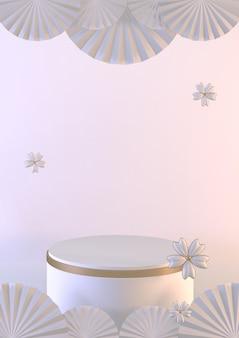 Estilo japonês de fundo branco vertical para o produto de exibição. renderização 3d