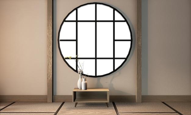 Estilo japonês de quarto com parede vazia no chão de tatame, renderização em 3d