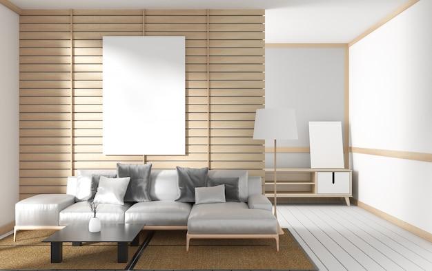 Estilo japonês do projeto moern interior da sala de visitas. renderização em 3d