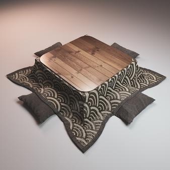 Estilo japonês e travesseiro de mesa baixa de kotatsu em fundo branco.