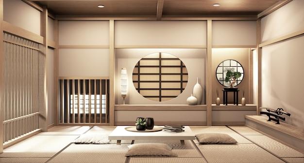 Estilo japonês ryokan na sala de madeira design muito bonito. renderização em 3d