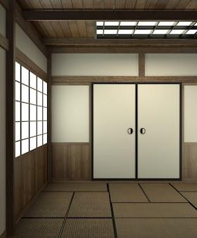Estilo japonês vazio da sala com estilo de japão da porta.