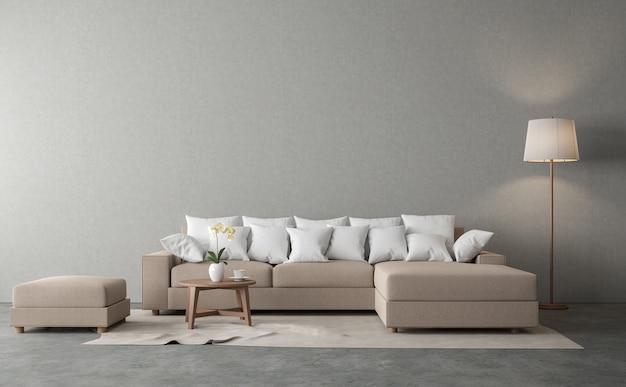 Estilo loft minimalista de estar 3d renderthere são piso de concreto mobiliado com sofá de tecido marrom