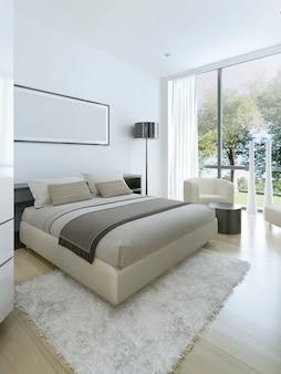 Estilo minimalista no interior do quarto em uma casa particular