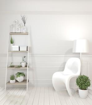 Estilo moderno branco da cadeira e da decoração no interior da sala branca.