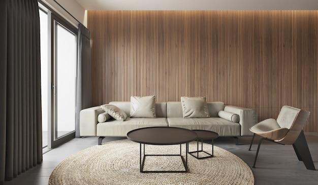 Estilo moderno da sala de estar interna, sofá cinza com padrão de painel de madeira