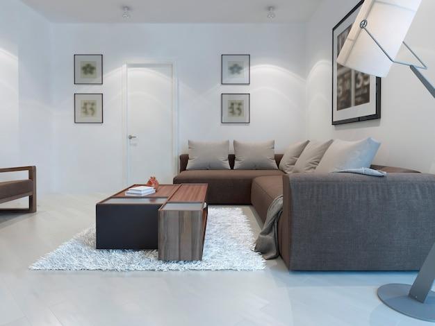 Estilo moderno de sala de estar branca