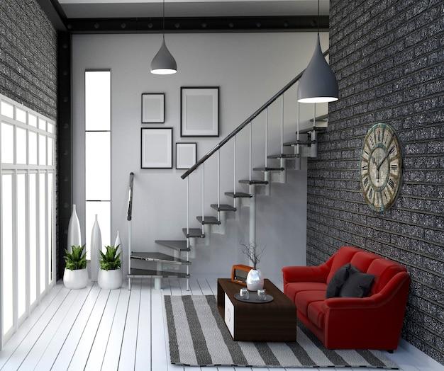 Estilo moderno estilo loft vivendo design de interiores. renderização em 3d