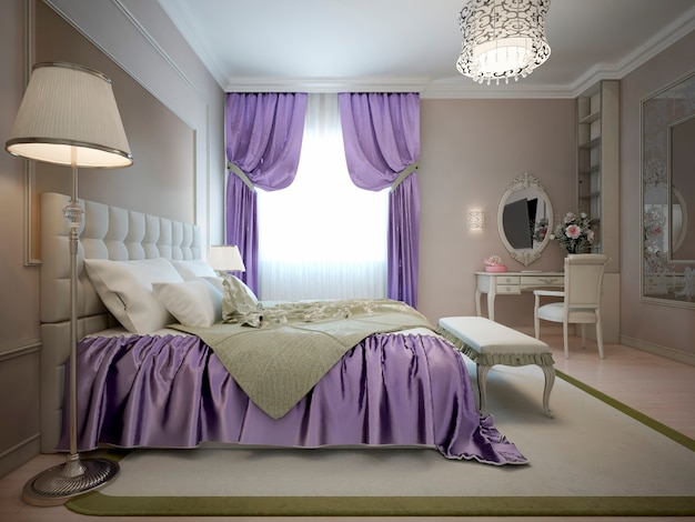 Estilo neoclássico do quarto principal com decoração violeta brilhante