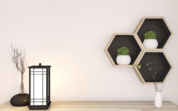 Estilo superior do zen do armário no interior mínimo japonês da sala e na prateleira do hexágono de madeira no fundo da parede. renderização em 3d