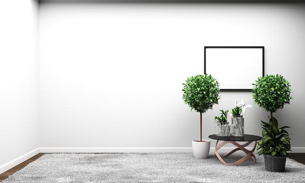 Estilo tropical moderno da sala com composição - projeto mínimo. renderização 3d