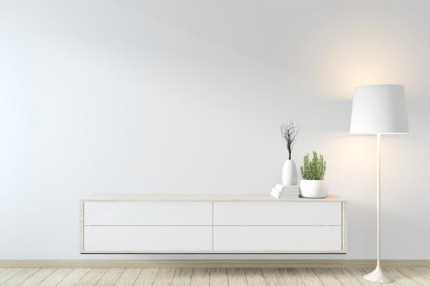 Estilo zen do armário na sala e na decoração modernas do zen. renderização 3d