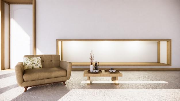 Estilo zen do quarto e decoração em madeira, tom terra.
