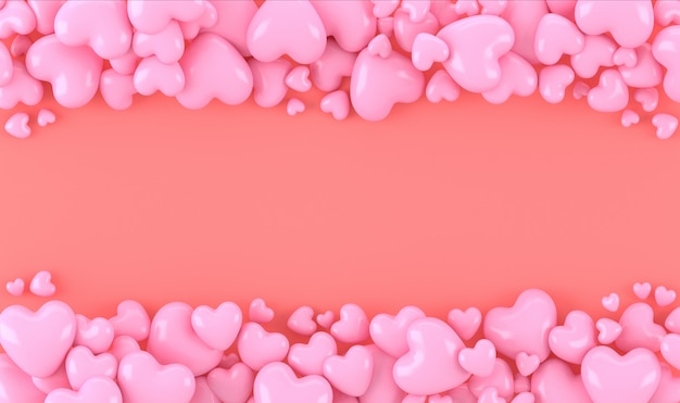 Estoque cor-de-rosa da forma do coração 3d com fundo coral, espaço para o texto ou copyright, fundo bonito, conceito dos valentim, rendição 3d