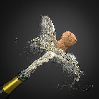 Estourando cortiça de uma garrafa de champanhe