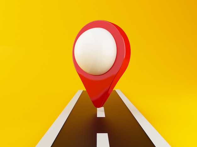 Estrada 3d com ponteiro de mapa