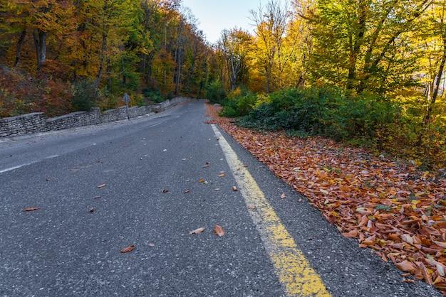 Estrada asfaltada ao longo das montanhas na temporada de outono