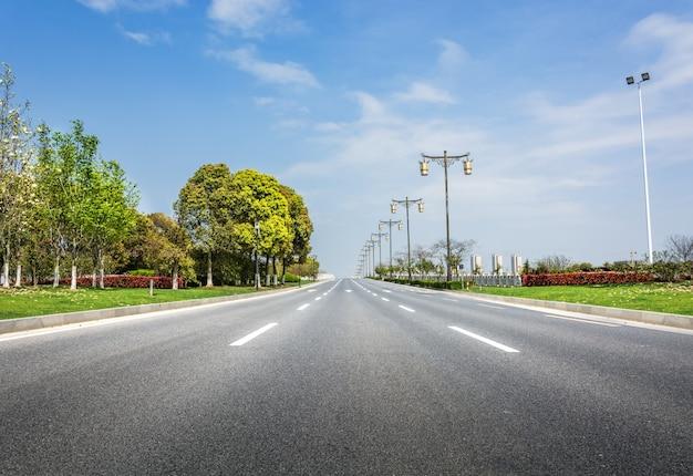 Estrada asfaltada com árvores e postes de iluminação