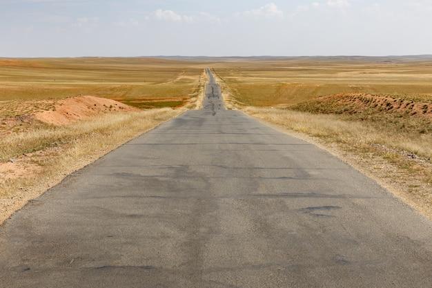 Estrada asfalto, em, estepe, interior, mongolia