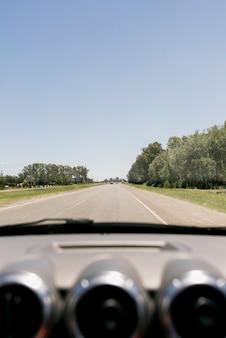 Estrada, através, a, pára-brisa