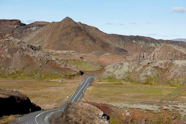 Estrada, através, montanha, vale