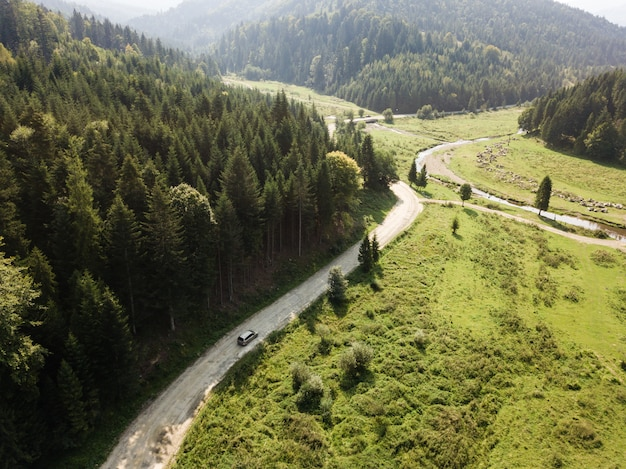 Estrada, através, montanhas, e, floresta, capturado, de cima