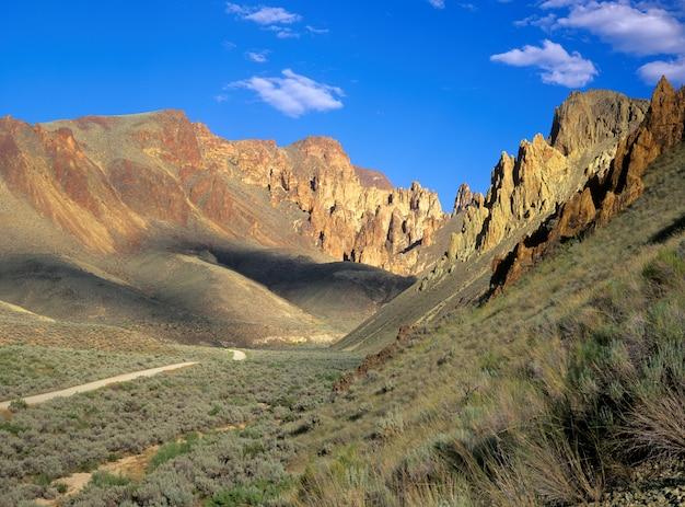 Estrada cascalho, através, owyhee, região, de, oriental, oregon