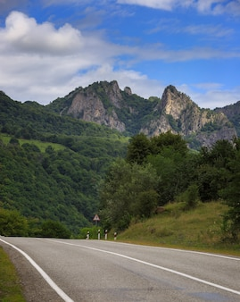 Estrada com marcações e um sinal de alerta em uma área de montanha
