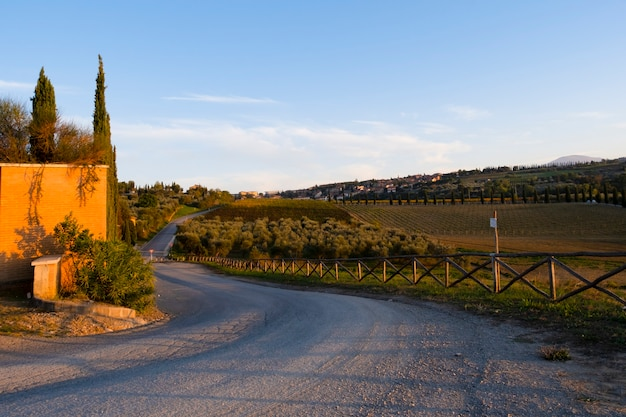 Estrada com paisagem vista antes do pôr do sol na toscana, itália, europa.