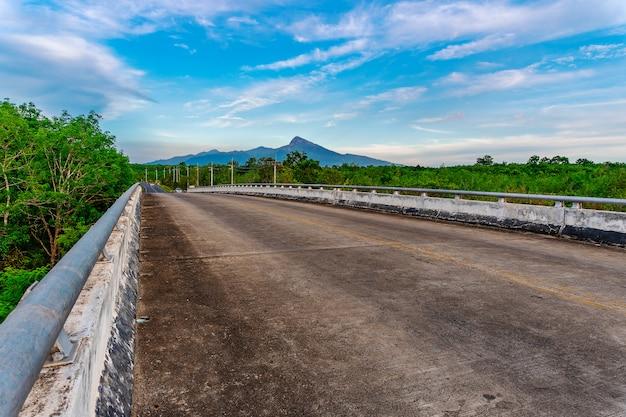 Estrada, com, ponte, e, árvore, natureza, em, luz solar
