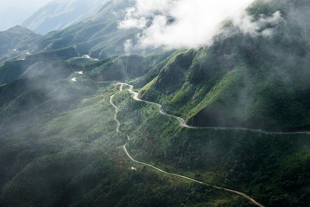 Estrada curva em vale verde com neblina