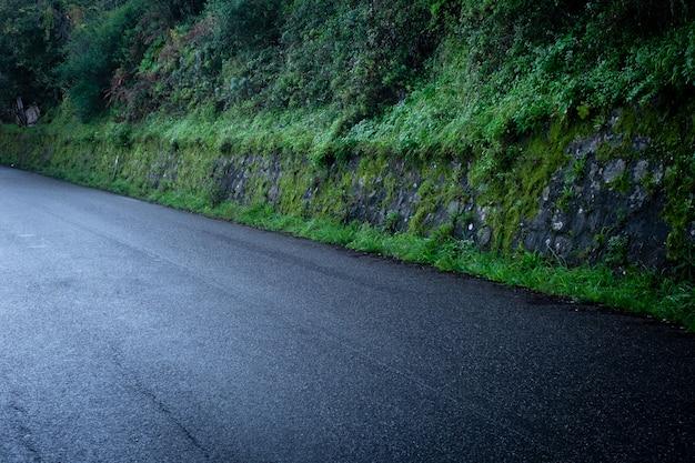 Estrada de asfalto do país depois da chuva