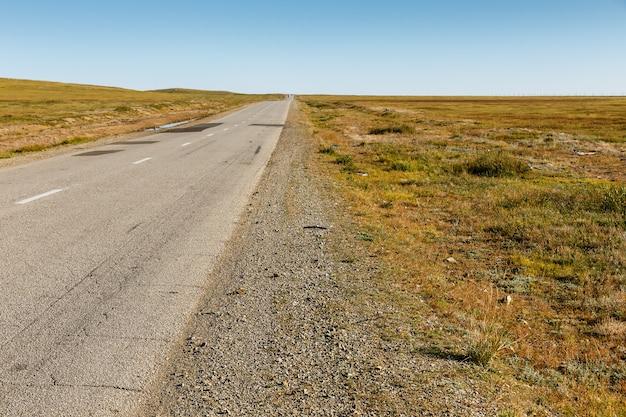 Estrada de asfalto na estepe da mongólia