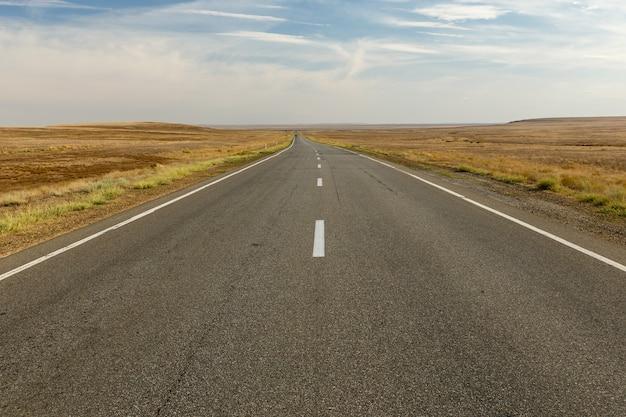 Estrada de asfalto vazia através da estepe, cazaquistão, estrada bonita