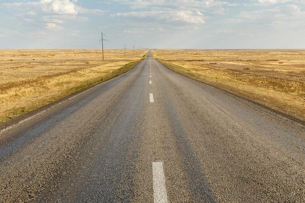 Estrada de asfalto vazia através do estepe, cazaquistão.