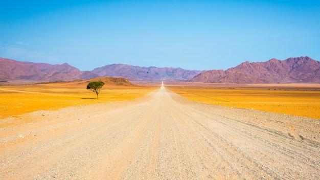 Estrada de cascalho, atravessando o deserto